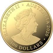 Australia 100 Dollars 6th Portrait - Spinner Dolphin 2020 BU ELIZABETH II • AUSTRALIA 2020 JC • 100 DOLLARS • coin obverse