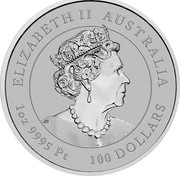 Australia 100 Dollars 6th Portrait - Year of the Mouse 2020 P BU ELIZABETH II AUSTRALIA JC 1 OZ 9995 PT 100 DOLLARS coin obverse