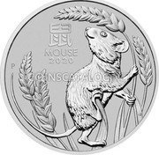 Australia 100 Dollars (6th Portrait - Year of the Mouse) 鼠 MOUSE 2020 P coin reverse