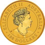 Australia 100 Dollars Australian Emu 2019 ELIZABETH II AUSTRALIA • 100 DOLLARS • coin obverse