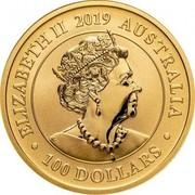 Australia 100 Dollars Australian Swan 2019 ELIZABETH II 2019 AUSTRALIA • 100 DOLLARS • coin obverse