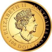 Australia 100 Dollars Australian Wedge-Tailed Eagle 2020 P High relief ELIZABETH II AUSTRALIA JC • 100 DOLLARS • coin obverse