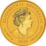 Australia 100 Dollars Double Dragon 2020 ELIZABETH II AUSTRALIA 1 OZ 9999 AU 2020 100 DOLLARS coin obverse