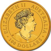 Australia 100 Dollars Hand of Faith 2020 P ELIZABETH II AUSTRALIA 100 DOLLARS coin obverse