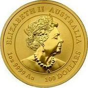 Australia 100 Dollars Year of the Mouse 2020 P ELIZABETH II • AUSTRALIA • 100 DOLLARS • 1 OZ 9999 AU coin obverse