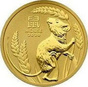 Australia 100 Dollars Year of the Mouse 2020 P MOUSE 2020 coin reverse