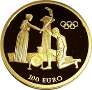 Greece 100 Euro Olympic flame at Olympia 2004 Proof KM# 234 100 EURO coin reverse