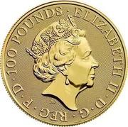 UK 100 Pounds Year of the Rat 2020 BU ELIZABETH II D G REG F D 100 POUNDS J.C coin obverse