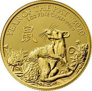 UK 100 Pounds Year of the Rat 2020 BU YEAR OF THE RAT 2020 1 OZ FINE GOLD 999.9 PJL coin reverse