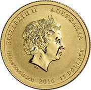 Australia 15 Dollars 4th Portrait - Victory in the Pacific 2016 P BU ELIZABETH II AUSTRALIA IRB 1/10OZ 9999 GOLD 2016 15 DOLLARS coin obverse