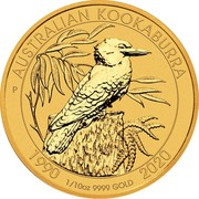 Australia 15 Dollars 6th Portrait - Kookaburra - 30th Anniversary 2020 1990 1/10 OZ 9999 GOLD 2020 AUSTRALIAN KOOKABURRA P coin reverse
