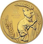 Australia 15 Dollars 6th Portrait - Lunar Year of the Mouse 2020 P Proof 鼠 MOUSE 2020 P coin reverse