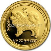 Australia 15 Dollars (Year of the Dog) KM# 1888 1/10 OZ 9999 GOLD 2006 P coin reverse