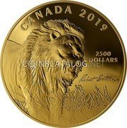 Canada 2,500 Dollars (Robert Bateman's Into the Light - Lion) CANADA 2019 2500 DOLLARS coin reverse