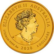 Australia 2 Dollars End of World War II 75th Anniversary 2020 P ELIZABETH II AUSTRALIA 1/2 GRAM 9999 AU 2020 2 DOLLARS coin obverse