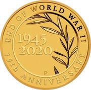 Australia 2 Dollars End of World War II 75th Anniversary 2020 P END OF WORLD WAR II 75TH ANNIVERSARY 1945 2020 coin reverse