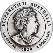 Australia 2 Dollars End of WWII 75th Anniversary 2020 P ELIZABETH II AUSTRALIA 2 OZ 9999 AG 2020 2 DOLLARS coin obverse