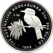 Australia 2 Dollars Kookaburra 1999 P THE AUSTRALIAN KOOKABURRA 2 OZ 999 SILVER 1999 coin reverse