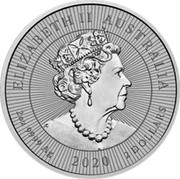 Australia 2 Dollars Kookaburra with Baby 2020 P ELIZABETH II AUSTRALIA 2 OZ 9999 AG 2020 2 DOLLARS coin obverse