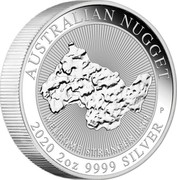 Australia 2 Dollars Welcome Stranger (Piedfort) 2020 P WELCOME STRANGER 1869 AUSTRALIAN NUGGET 2020 2OZ 9999 SILVER coin reverse
