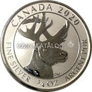 Canada 2 Dollars (Woodland Caribou) CANADA 2020 9999 FINE SILVER 3/4 OZ ARGENT PUR coin reverse