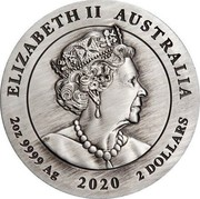 Australia 2 Dollars Year of the Mouse. Antique 2020 P UNC Antique Finish ELIZABETH II AUSTRALIA JC 2OZ 9999 AG 2020 2 DOLLARS coin obverse
