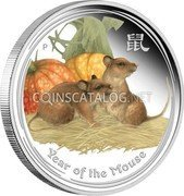 Australia 2 Dollars (Year of the Mouse (Colored)) YEAR OF THE MOUSE coin reverse
