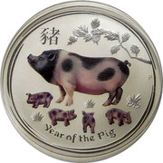 Australia 2 Dollars Year of the Pig (colored) 2019 AH P YEAR OF THE PIG coin reverse