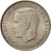 Greece 2 Drachmai 1966 KM# 90 Kingdom ΚΩΝΣΤΑΝΤΙΝΟΣ ΒΑΣΙΛΕΥΣ ΤΩΝ ΕΛΛΗΝΩΝ coin obverse