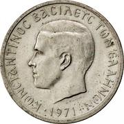 Greece 2 Drachmai 1971 KM# 99 Kingdom ΚΩΝΣΤΑΝΤΙΝΟΣ ΒΑΣΙΛΕΥΣ ΤΩΝ ΕΛΛΗΝΩΝ coin obverse