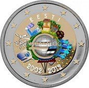 Estonia 2 Euro (10 Years of Euro Banknotes and Coins (Coloured)) EESTI A.H. € 2002 2012 coin reverse