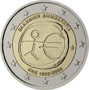 Greece 2 Euro 10th Anniversary of the Economic Monetary Union 2009 KM# 227 ΕΛΛΗΝΙΚΗ ΔΗΜΟΚΡΑΤΙΑ ΓΣ ΟΝΕ 1999-2009 coin obverse
