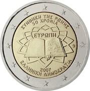 Greece 2 Euro 50th Anniversary of the Treaty of Rome 2007 KM# 216 ΣΥΝΘΗΚΗ ΤΗΣ ΡΩΜΗΣ 50 ΧΡΟΝΙΑ ΕΥΡΩΠΗ 2007 ΕΛΛΗΝΙΚΗ ΔΗΜΟΚΡΑΤΙΑ coin obverse
