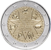 Greece 2 Euro 50th Anniversary of the Union of the Ionian Islands with Greece 2014 KM# 260 150 ΧΡΟΝΙΑ ΑΠΟ ΤΗΝ ΕΝΩΣΗ ΤΩΝ ΕΠΤΑΝΗΣΩΝ ΜΕ ΤΗΝ ΕΛΛΑΔΑ 1864-2014 ΕΛΛΗΝΙΚΗ ΔΗΜΟΚΡΑΤΙΑ coin obverse