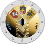 Estonia 2 Euro Centenary of the Foundation of the Independent Baltic States (Coloured) 2018 EESTI 2018 100 coin reverse