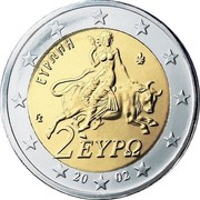 Greece 2 Euro Europa abducted by Zeus 2002 KM# 188 ΕΥΡΩΠΗ ΓΣ 2 ΕΥΡΩ 20 02 coin obverse