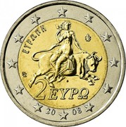 Greece 2 Euro Europa abducted by Zeus 2008 KM# 215 ΕΥΡΩΠΗ ΓΣ 2 ΕΥΡΩ 20 08 coin obverse