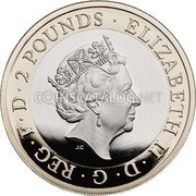 UK 2 Pounds (100th Anniversary of First Novel of Dame Agatha Christie) ELIZABETH II·D·G·REG·F·D·2 POUNDS· coin obverse