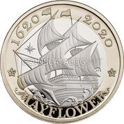 UK 2 Pounds (400th Anniversary of the Sailing of Mayflower) 1620 2020 MAYFLOWER Edge: UNDERTAKEN FOR THE GLORY OF GOD coin reverse