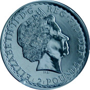 UK 2 Pounds Standing Britannia (Gilted) 2013 Proof 2 POUNDS D G REG FID DEF ELIZABETH II IRB coin obverse