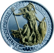 UK 2 Pounds Standing Britannia (Gilted) 2013 Proof 2013 BRITANNIA ONE OUNCE FINE SILVER coin reverse