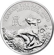 UK 2 Pounds (Year of the Rat) YEAR OF THE RAT · 2020 1 OZ FINE SILVER 999 鼠 PJL coin reverse