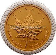 Canada 20 Dollars (An Era of Triumph 25th Anniversary) CANADA FINE Gold 1/2 OZ OR PUR 1979 2004 9999 9999 coin reverse