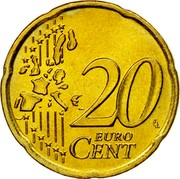 Greece 20 Euro Cent 2002 KM# 185 Euro Coinage 20 EURO CENT LL coin reverse
