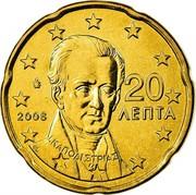 Greece 20 Euro Cent Ioannis Kapodistrias 2008 KM# 212 2008 20 ΛΕΠΤΑ Ι. ΚΑΠΟΔΙΣΤΡΙΑΣ coin obverse