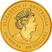 Australia 200 Dollars 6th Portrait - Year of the Mouse 2020 P BU ELIZABETH II AUSTRALIA JC 2OZ 9999 AU 200 DOLLARS coin obverse