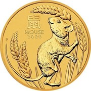 Australia 200 Dollars 6th Portrait - Year of the Mouse 2020 P BU 鼠 MOUSE 2020 P coin reverse