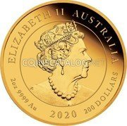 Australia 200 Dollars (75th Anniversary of the End of WWII) ELIZABETH II AUSTRALIA 2 OZ 9999 AU 2020 2000 DOLLARS coin obverse