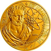 Greece 200 Euro Philosophers - Demokritos 2016 Proof KM# 288 ΕΛΛΗΝΙΚΗ ΔΗΜΟΚΡΑΤΙΑ 200 ΕΥΡΩ coin obverse