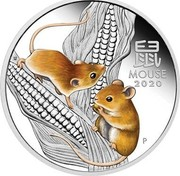 Australia 25 Cents 6th Portrait - Year of the Mouse (coloured) 2020 P UNC Coloured 鼠 MOUSE 2020 IJ P coin reverse